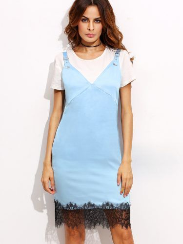 Blue V Neck Backless Lace Hem Sheath Dress