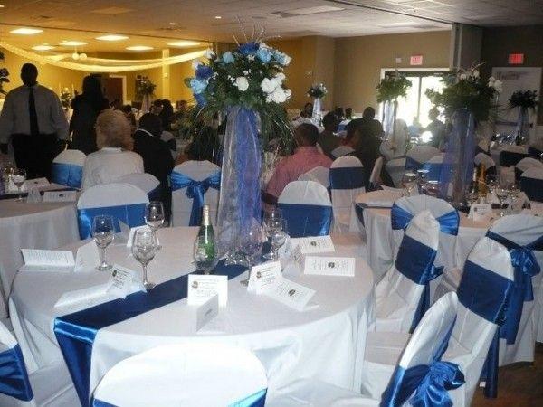 Wedding reception centerpiece ideas royal blue white
