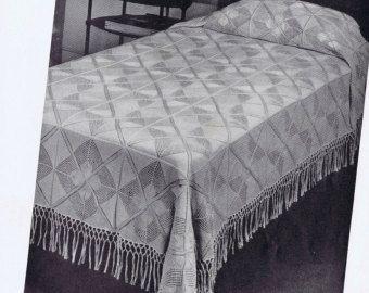 Filet Filet ganchillo colcha Vintage patrón por VintagePatternPlace