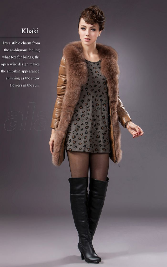 Leather Down Jacket For Women, New Style Sheepskin Made Down Overcoat With Large Fur Collar