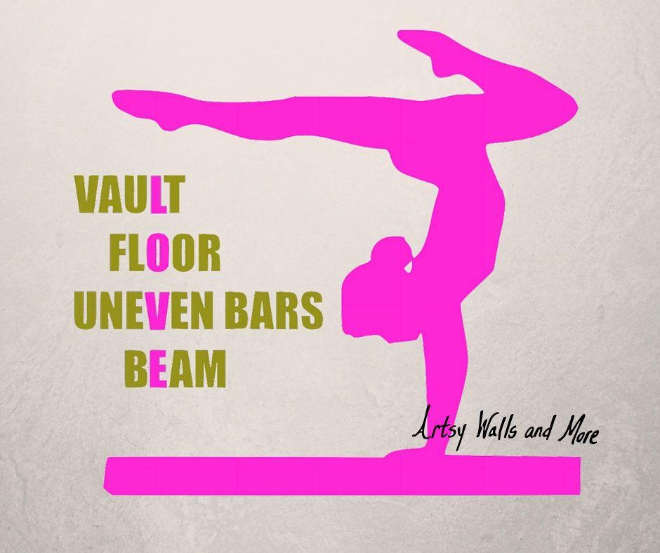Gymnastics Wall Decal Quote Vault Floor Uneven Bars Beam Gymnast LOVE Studio