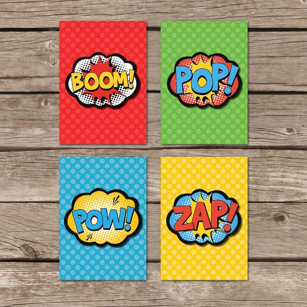 Kunstdruck DIN A4 Superhelden Comic Sprechblasen 4er Set Druck ...