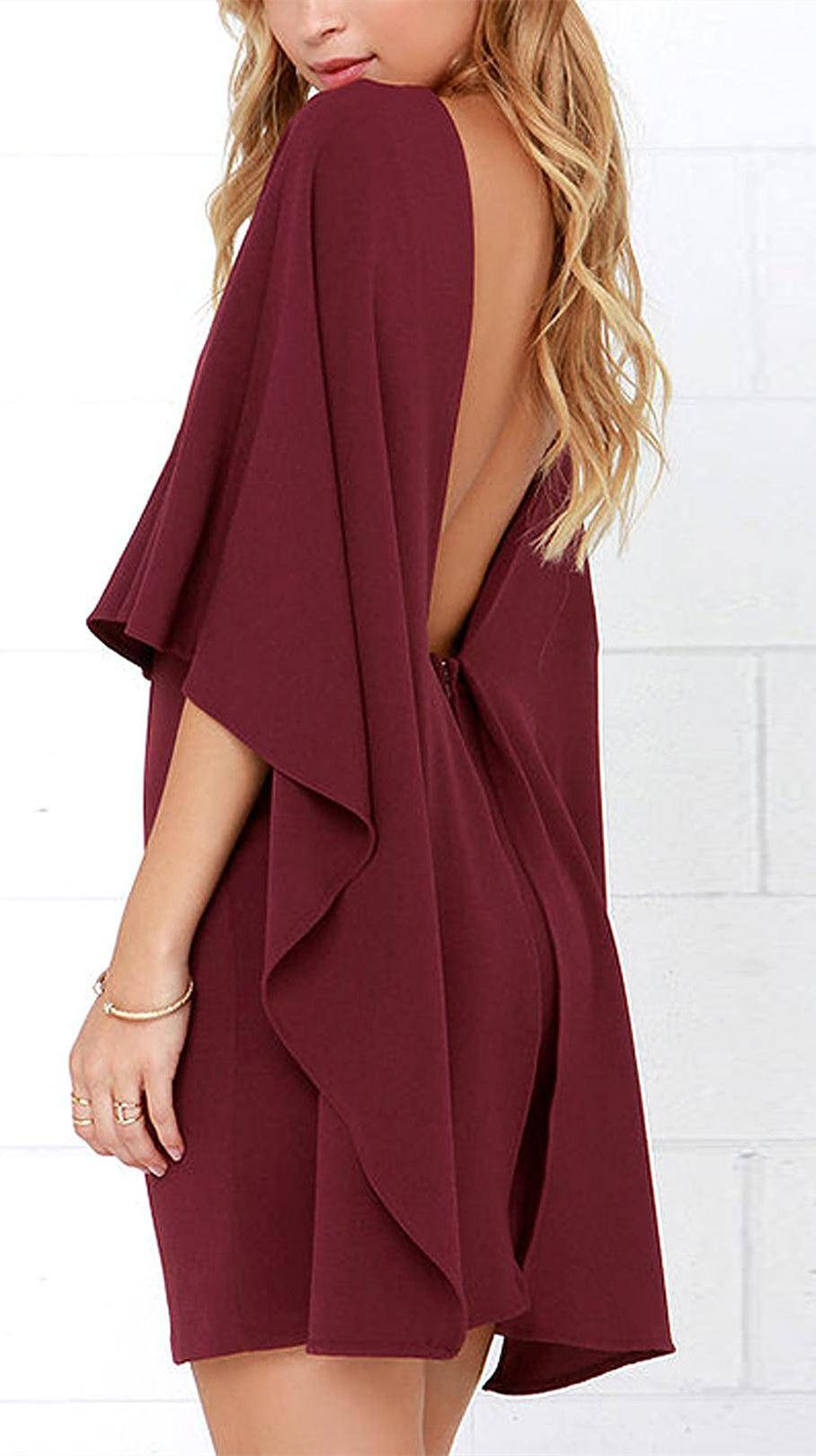 Cape Backless Dress in Burgundy | Closet I wish for! | Pinterest