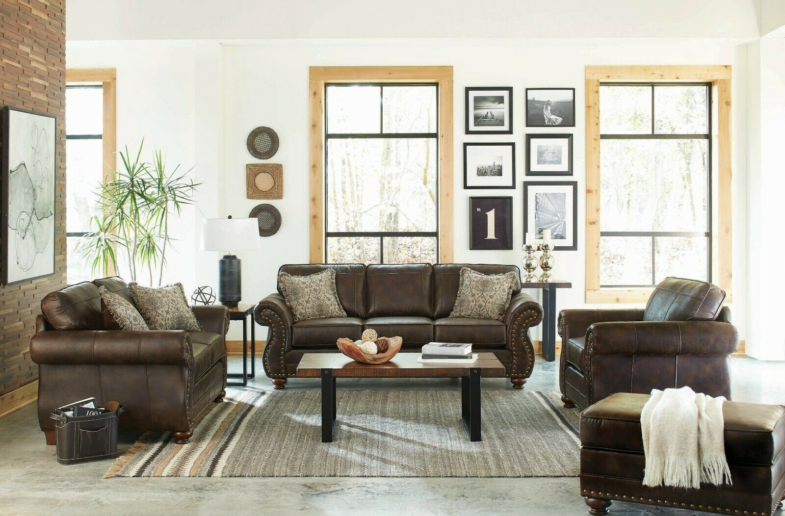 Traditional 3 Piece Sofa Loveseat Chair Set Brown Performance Microfib In 2020 Leather Couches Living Room Dark Brown Couch Living Room Brown Leather Couch Living Room