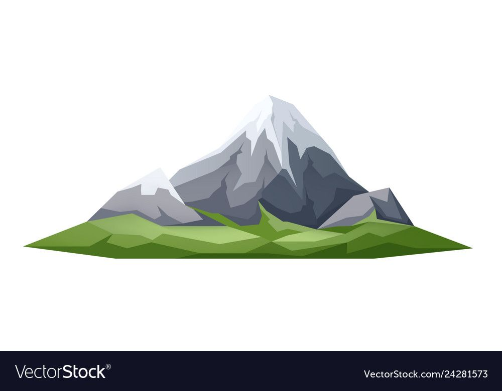 Ice Peak Mountain Green Meadow At Foothills Vector Image Graphic Poster Art Mountain Illustration Logo Design Inspiration Graphics
