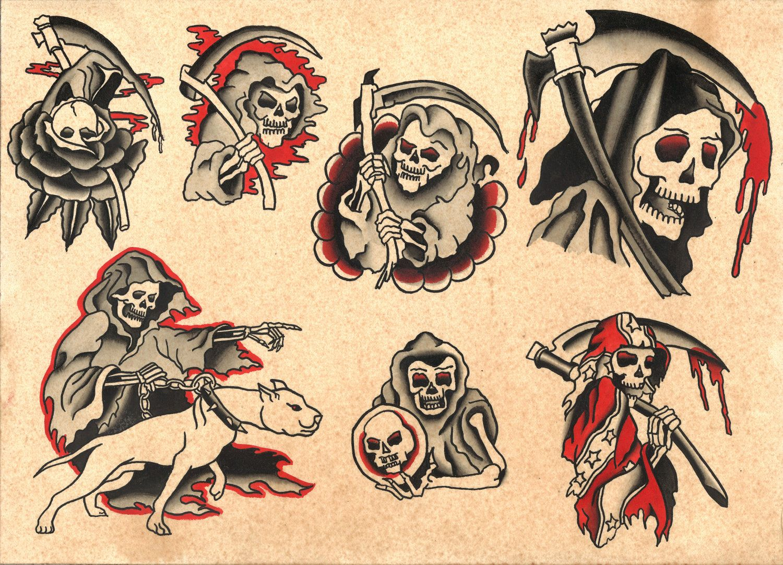Traditional Style Grim Reaper Tattoo Flash Sheet - Print ...