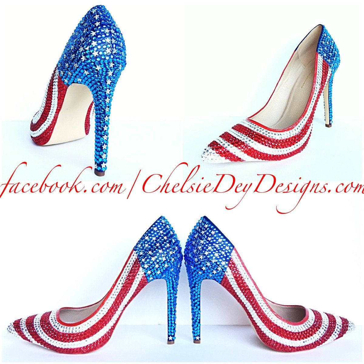55820715974 American Flag Rhinestone High Heels
