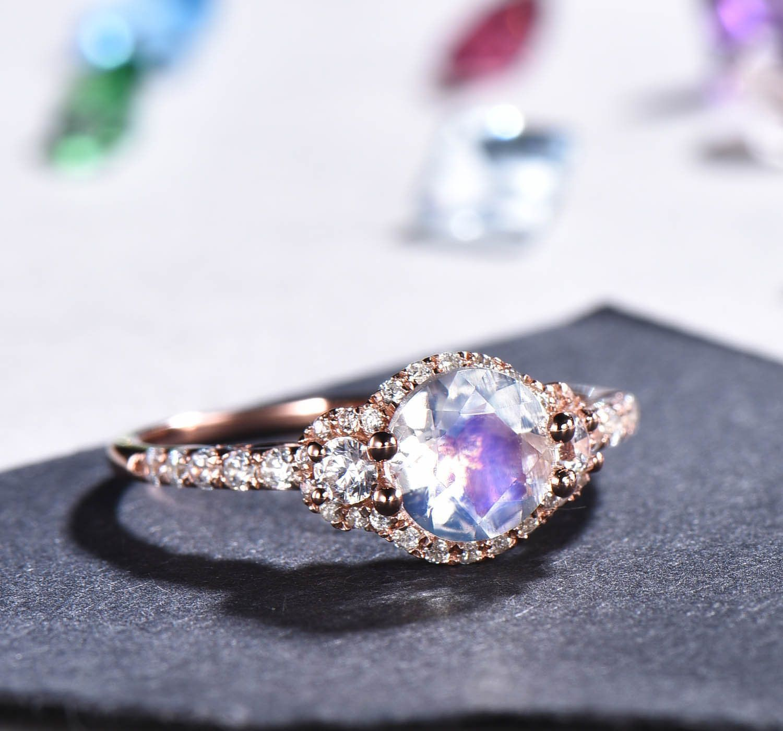 Vintage Moonstone Engagement Ring Rose Gold Women Etsy