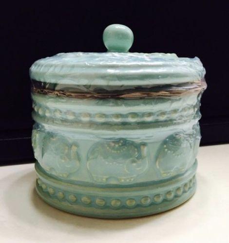 Cynthia Rowley Elephant Ceramic Cotton Ball Apothecary Container Light Green Nwt Apothecary