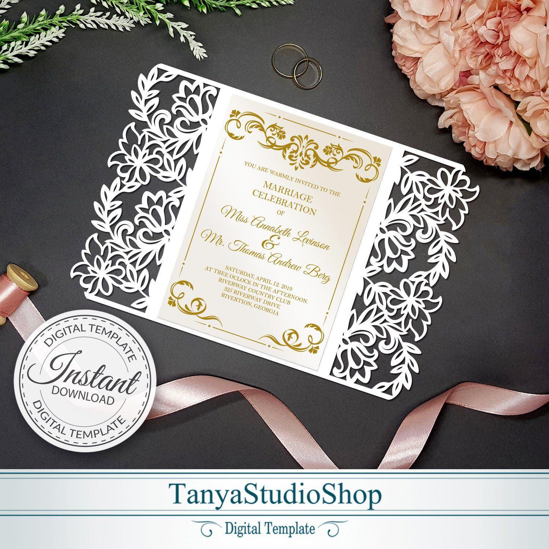 Gate-fold 5x7'' invitation template SVG ai CRD | Etsy in 2020 | Wedding  cards, Invitations, Invitation template