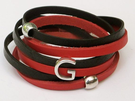 Leather Wrap Bracelet Red and Black Initial G easy by MaryMercedes, $38.00
