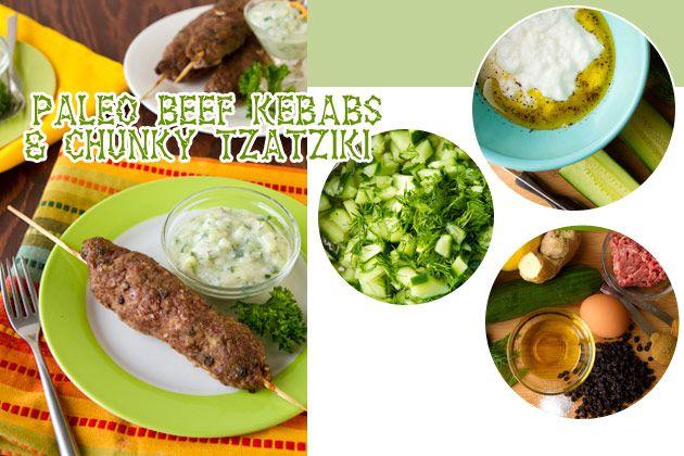 Paleo Beef Kebabs with Chunky Tzatziki