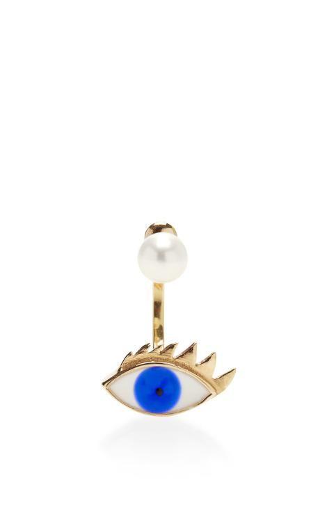 9K Gold, Pearl & Enamel Single Earring by Delfina Delettrez Now Available on Moda Operandi