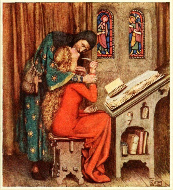 Eleanor Fortescue-Brickdale (English artist) 1872 - 1945, Abelard & Heloise, 1919, book illustration, s.l.