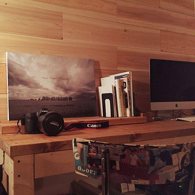Pcデスクdiyのインテリア実例 Roomclip ルームクリップ My Desk ナチュラル Macのある部屋 間接照明 Diy 自作