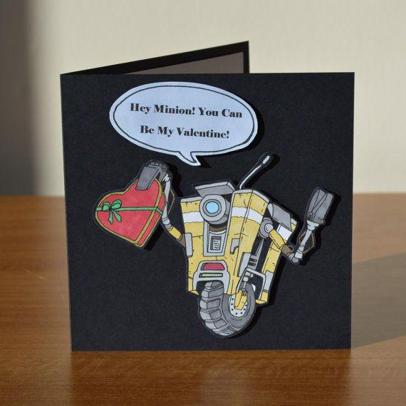 Borderlands Claptrap Cl4p Tp Minion You Can Be My Valentine Card