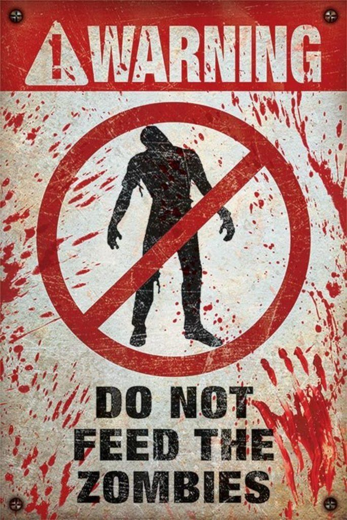"""METAL WALL PLAQUE SIGN RETRO STYLE ZOMBIES KEEP OUT #2 YELLOW 8/"""" X 6/"""""""