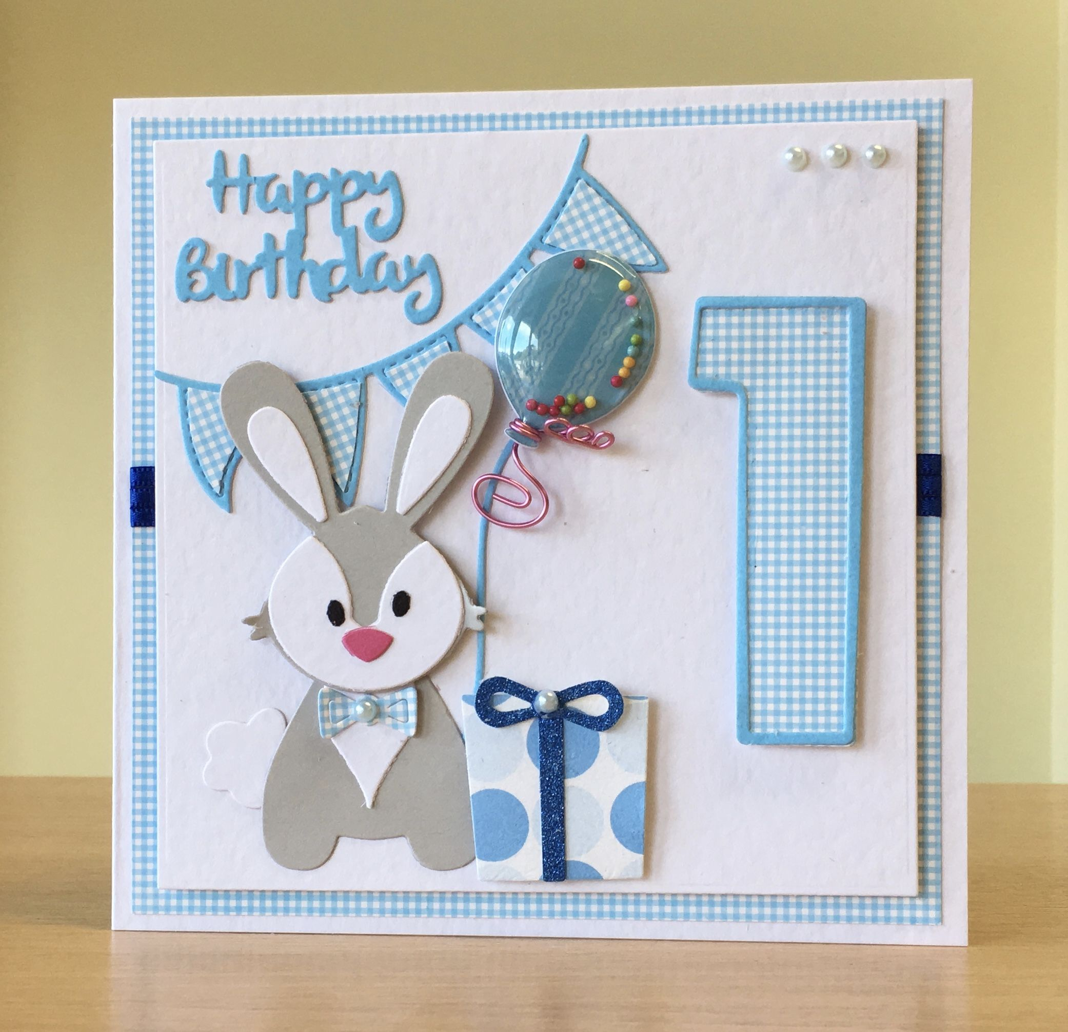 First Birthday Card Handmade Marianne Rabbit Die For More Of My Cards Please Visit Craftycards First Birthday Cards Kids Birthday Cards 1st Birthday Cards
