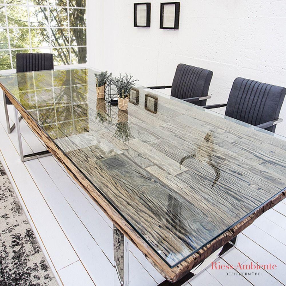 Massiver Esstisch BARRACUDA 200cm antik Teak Holz