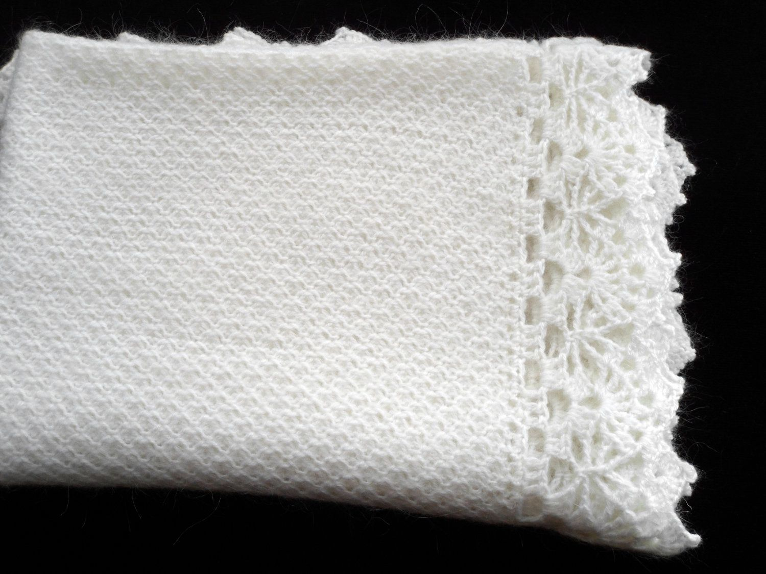 Knitted Baby Blanket White Mohair New Mom Must Haves