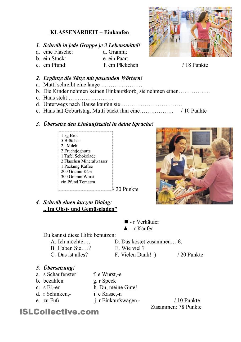 Klassenarbeit- Einkaufen | Pinterest | German, Deutsch and Learn german