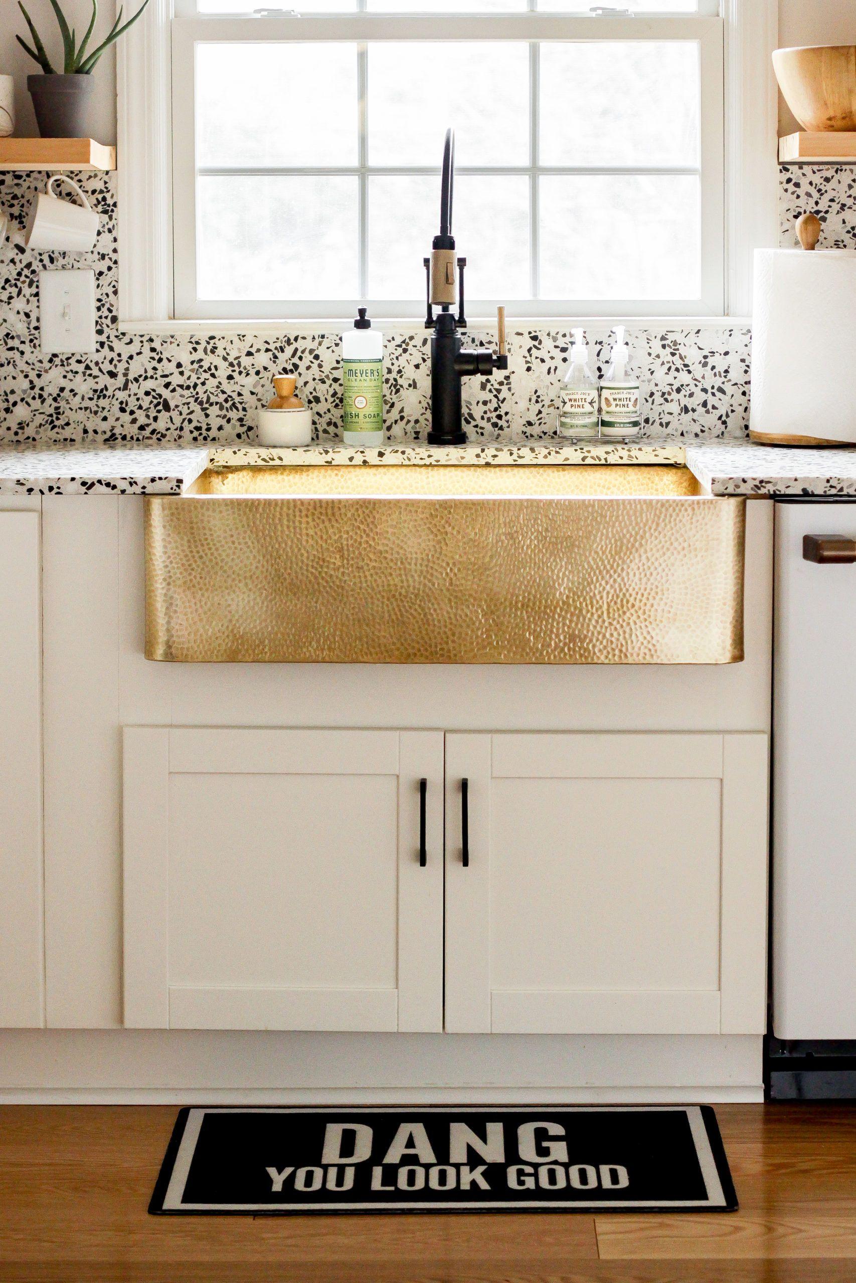 Modern Timeless Organic Kitchen Reveal It S Finally Here Brass Sink White Modern Kitchen Organic Modern Decor