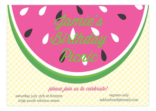#Watermelon Picnic Invitation : Party Invitations #SummerParty