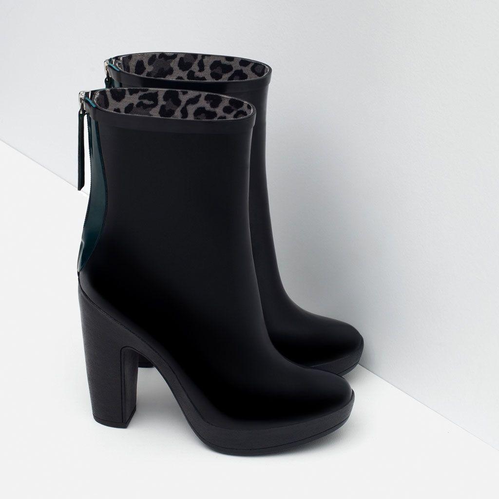 a99bb3d99145 Image 4 of HEELED RAIN BOOTIES from Zara