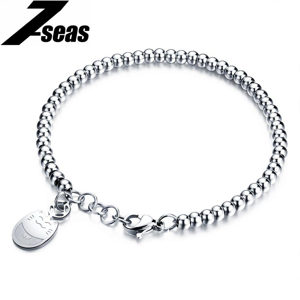 Fashion lucky cat design women bead bracelets luxury rose gold color