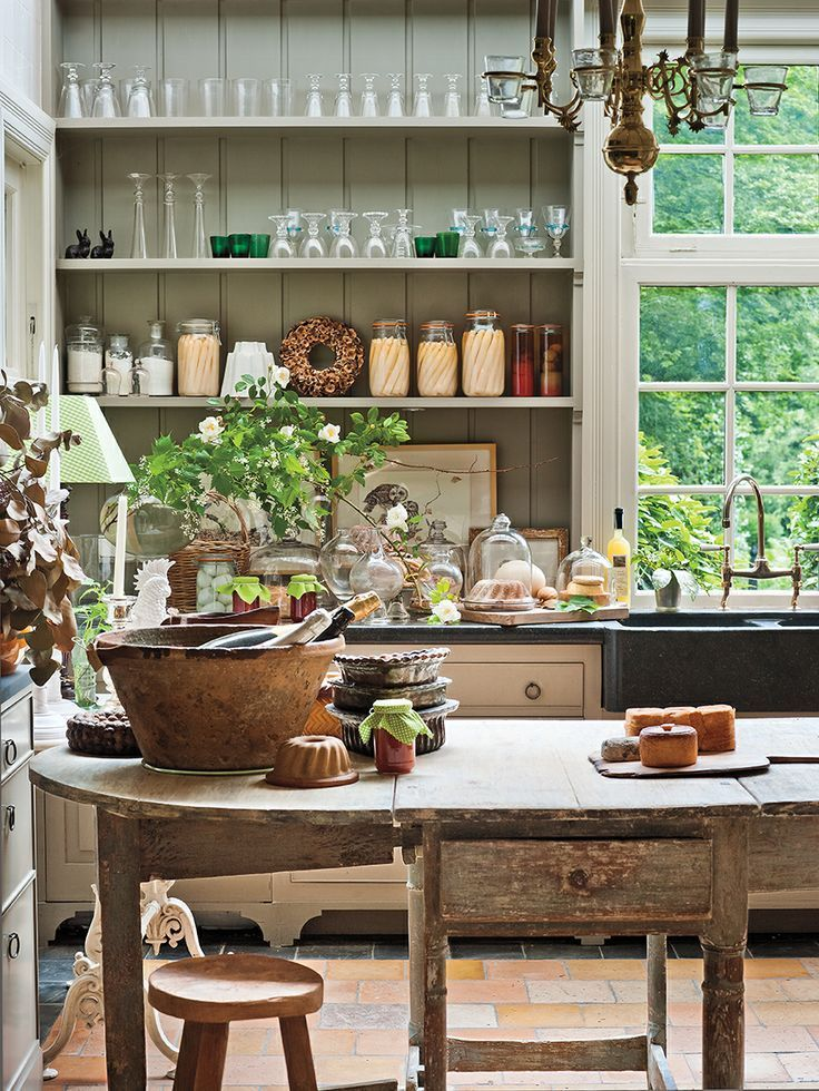 The Kitchens of MILIEU | Kitchens, Open shelves and Chandeliers on american home interior design, european dining room interiors, european country kitchen design, european country antiques, modern contemporary interior design, farm style interior design,