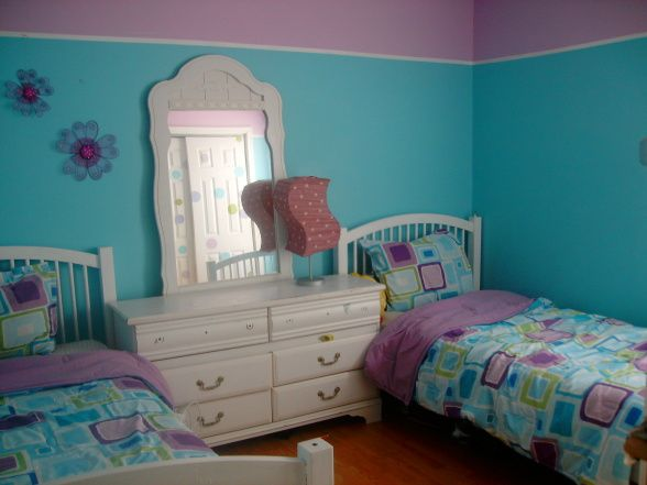 Turquoise Girls Room Decorating Ideas Aqua And Purple Bedroom For My 6 And 10 Years Old Girls Rooms Turquoise Room Girls Blue Bedroom Blue Girls Rooms