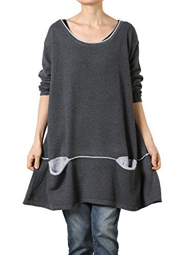 0927f8721eb75 Mordenmiss Women s Daily Knitwear Spring Loose Sweater Dress L Gray  Mordenmiss http   www