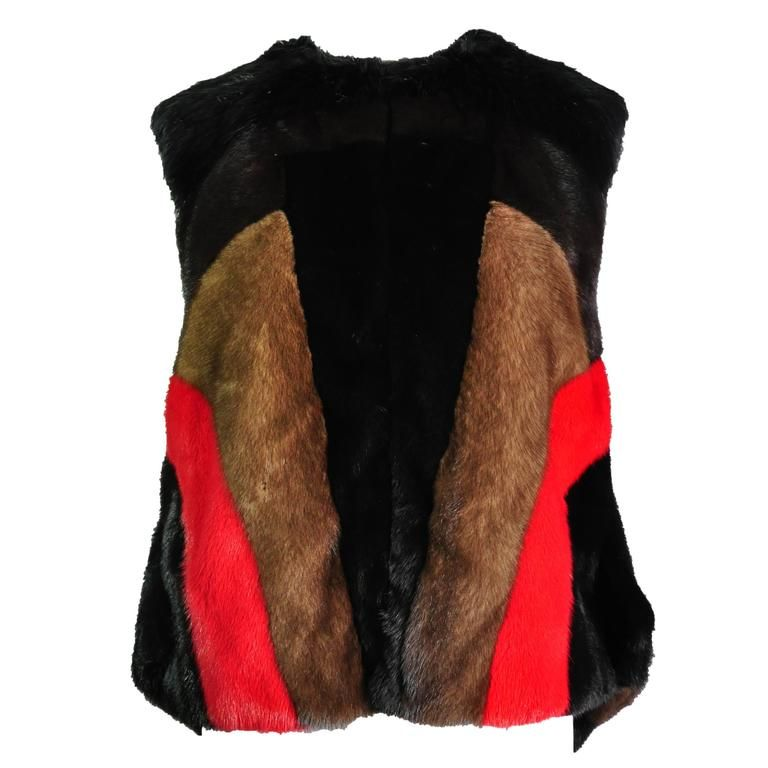 Givenchy by Riccardo Tisci Asymmetric Multi-color dyed Mink Vest   From a collection of rare vintage jackets at https://www.1stdibs.com/fashion/clothing/jackets/