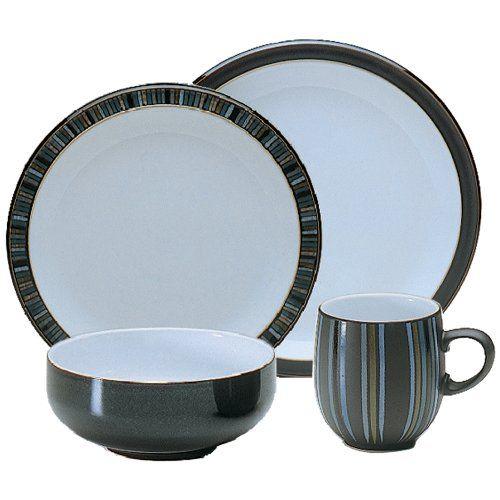 Denby 16 Piece Jet Stripes Dinner Set Black Set Of 4 Denby Dinnerware Sets Dinnerware Sets For 12 Dinnerware Sets For 8