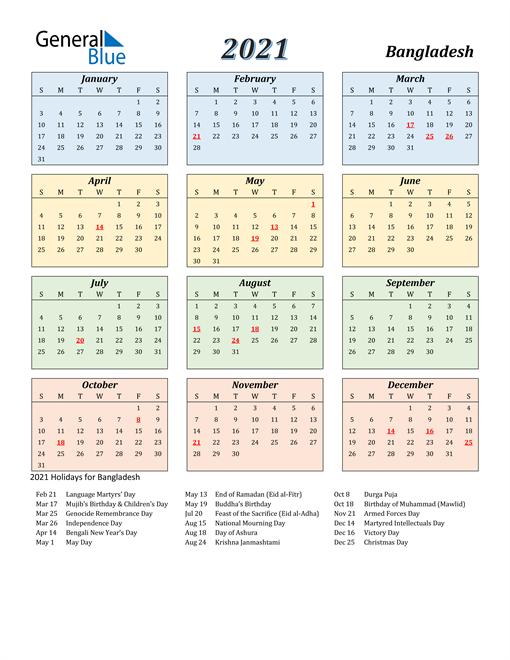 Bangladesh Calendar 2021