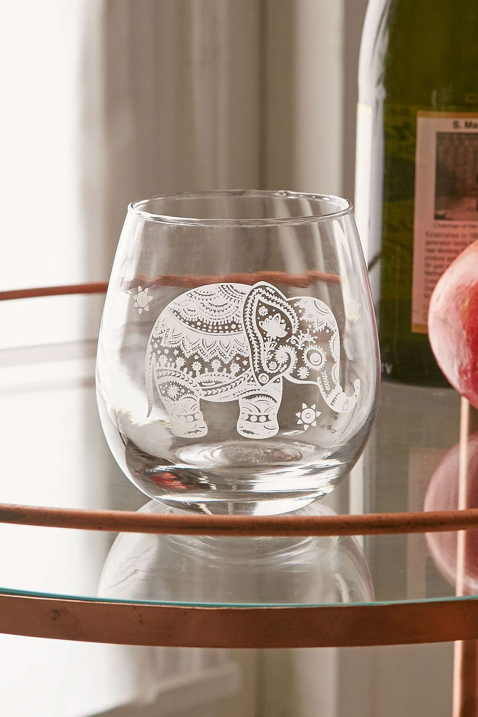 171d5cb6d45 Etched Elephant Stemless Wine Glass | Digs | Wine glass, Wine glass ...