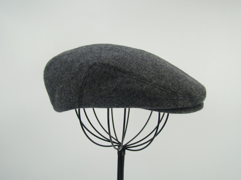 9296bb02f258c Grey Tweed Wool Men s Sixpence Hat - Flat Jeff Cap