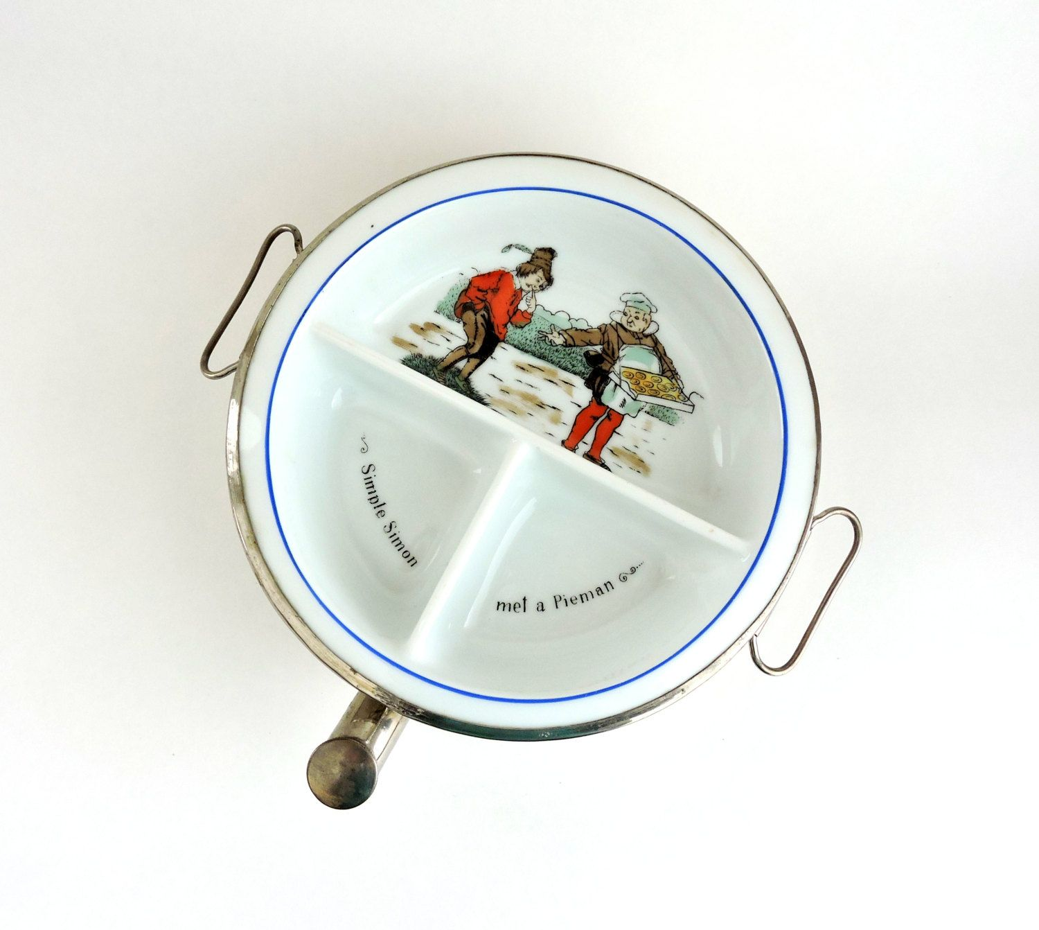 Antiques Vintage Excello Baby Food Dish Warmer Metal Porcelain Nursery Rhyme 3 Section