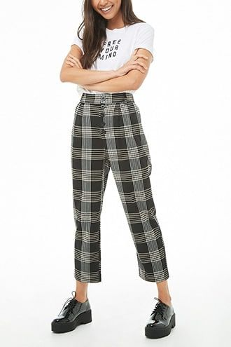 78d3615b8217bb High-Rise Plaid Cropped Pants in 2019