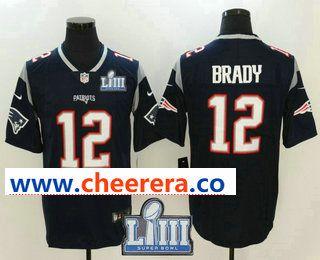 599bea56f73 Men's New England Patriots #12 Tom Brady Navy Blue 2019 Super Bowl LIII  Patch Vapor Untouchable Stitched NFL Nike Limited Jersey