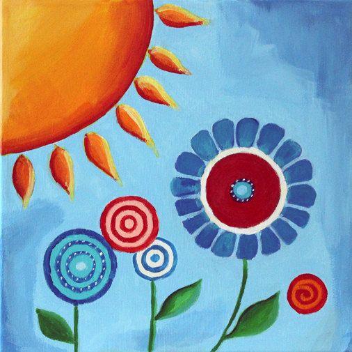 ציורי ילדים Sun And Flowers Painting Childrens Wall Art