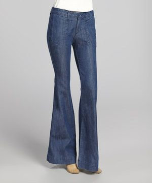 David Kahn Medium Blue Wash Katharine Flare Jeans by David Kahn #zulily #zulilyfinds