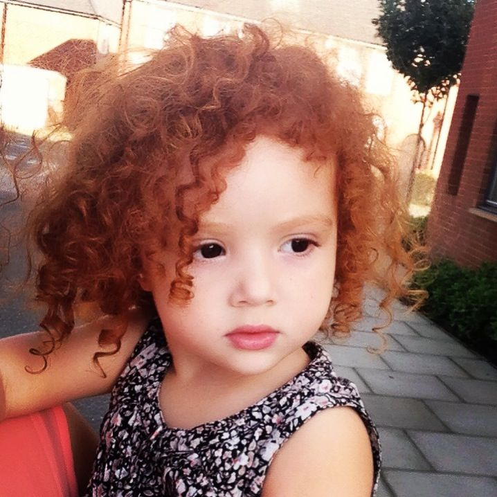 Beauty Ginger Curly Hair Girl Biracial Women Red Hair Blue