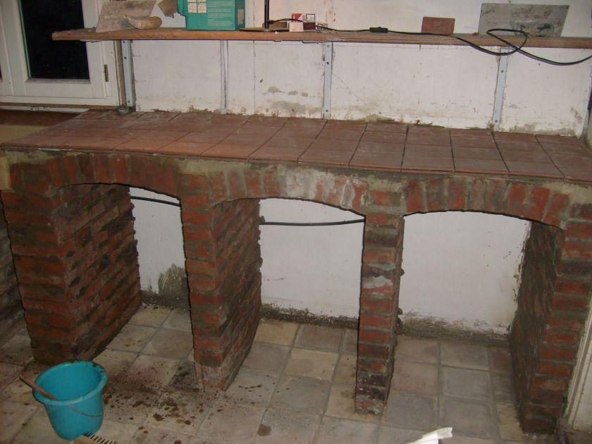 Progress is slow kitchen unit brickwork and bricks for Brick kitchen designs