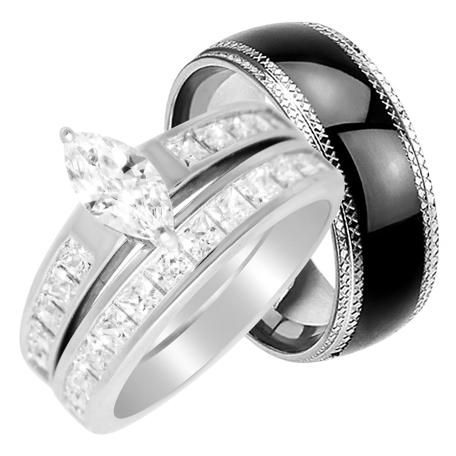 Laraso Co His Hers Wedding Rings Set Cheap Matching Wedding Bands For Him Size 11 And Her Size 5 Walmart Com In 2021 Cheap Wedding Rings Sets Wedding Ring Sets Wedding Rings