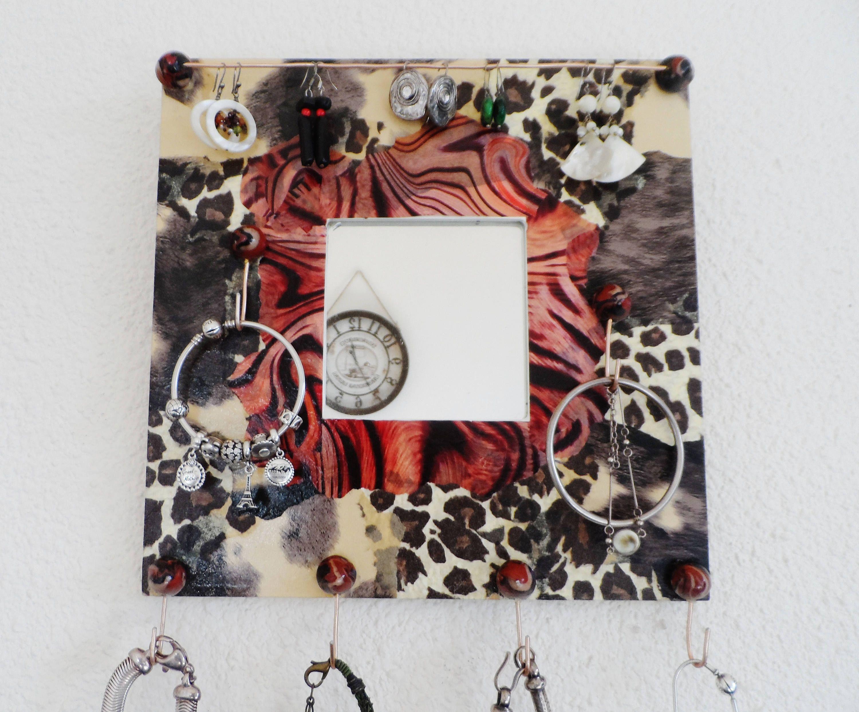 Porte bijoux mural avec miroir motif léopard de la boutique ...