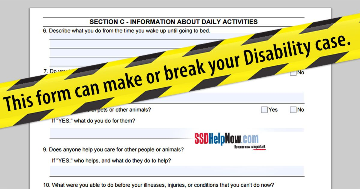 Can You Get Disability For Fibromyalgia In Illinois Disability Questionnaire About Activities Of Daily Living Activities Of Daily Living Disability Social Security Disability