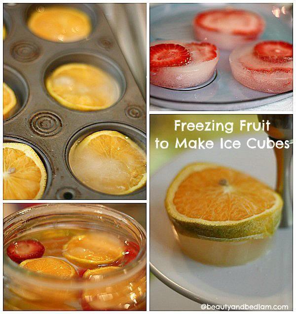 Freezing fruit ice cubes