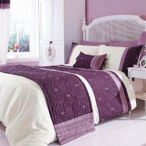 Lois Contemporary Fl Purple Mauve Double Duvet Cover Set