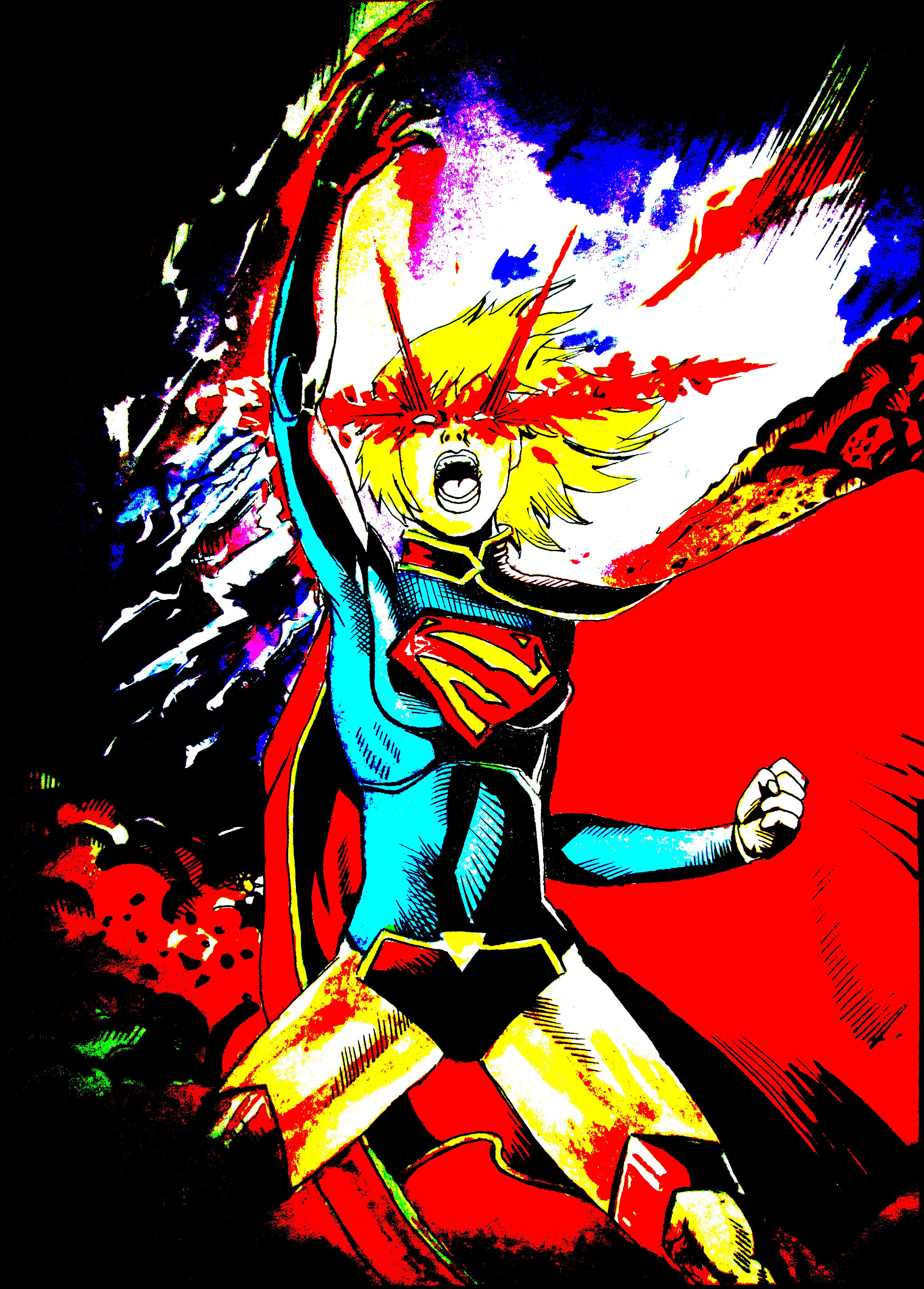 My Drawing Of Supergirl Watercolor Painting Superhero Drawings